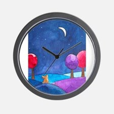 Moon gazing hare Wall Clock