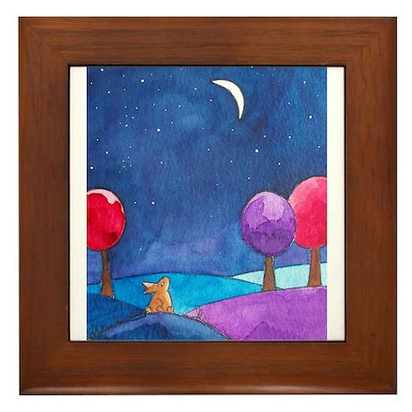 Moon gazing hare Framed Tile