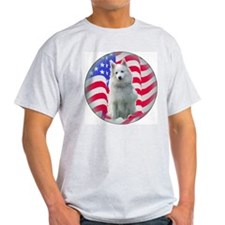 American Eskimo with flag Ash Grey T-Shirt