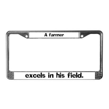 A farmer excels in License Plate Frame