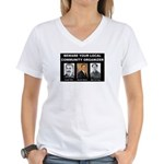Beware of community organizer Women's V-Neck T-Shi