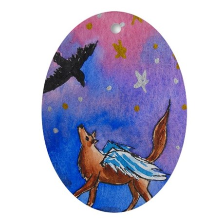 Wolf and Raven Oval Ornament