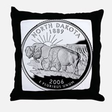 North Dakota Quarter Throw Pillow