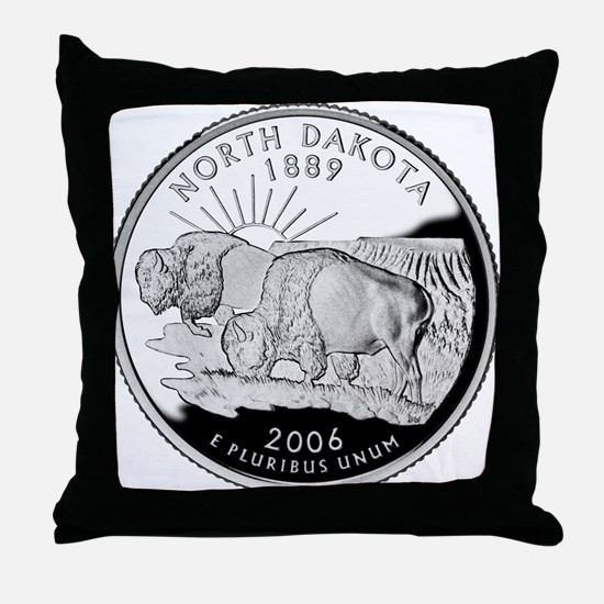 North Dakota Quarter Throw Pillow
