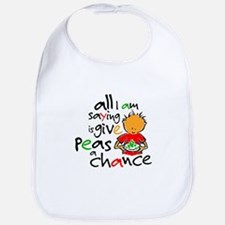 Funny Give peace chance Bib