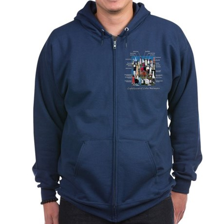 Lighthouses of Lake Michigan Zip Hoodie (dark)