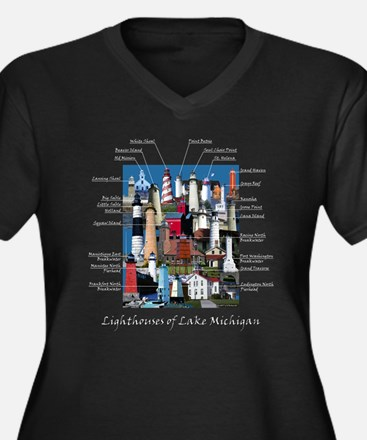 Lighthouses of Lake Michigan Women's Plus Size V-N