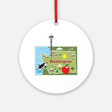 Washington Map Ornament (Round)
