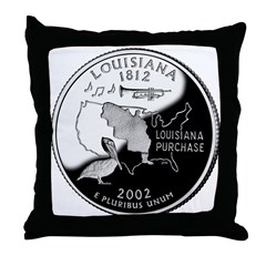 Louisiana Quarter Throw Pillow