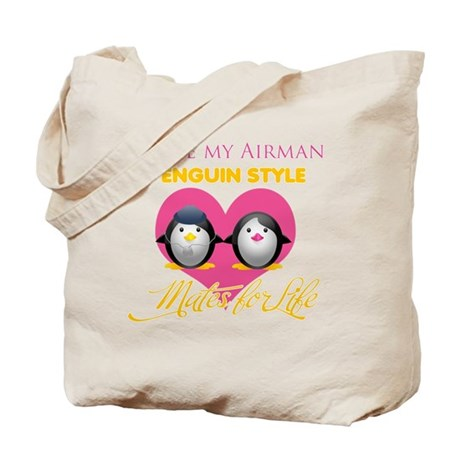 I Love My Airman Penguin Styl Tote Bag