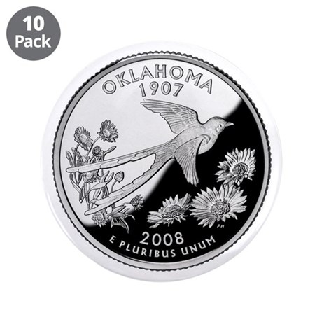 "Oklahoma Quarter 3.5"" Button (10 pack)"