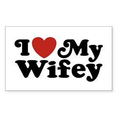 I Love My Wifey Rectangle Decal
