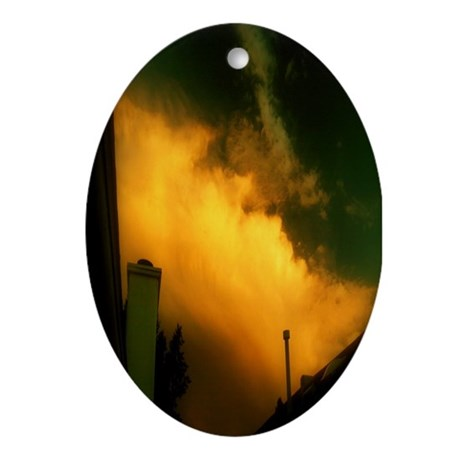 Chimney Sunset Cloud Oval Ornament