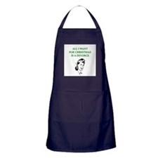 christmas divorce joke gifts Apron (dark)