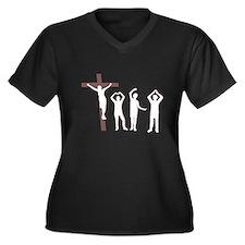 Jesus dancing YMCA Women's Plus Size V-Neck Dark T