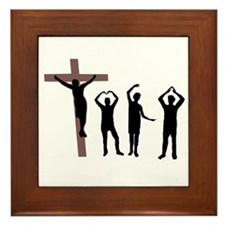 Jesus dancing YMCA Framed Tile