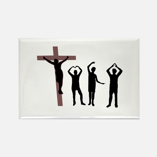 Jesus dancing YMCA Rectangle Magnet