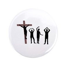 "Jesus dancing YMCA 3.5"" Button"