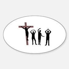 Jesus dancing YMCA Oval Decal