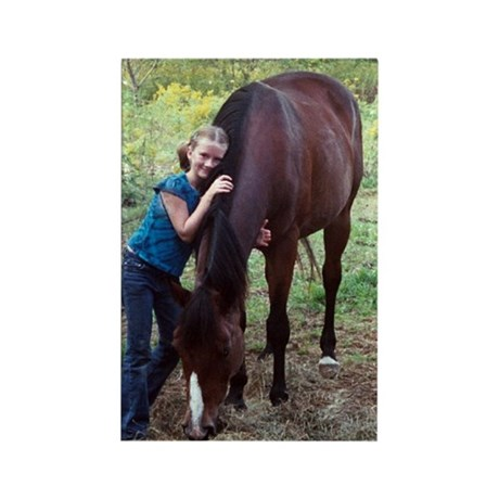 GIRL & HORSE Rectangle Magnet