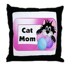 Cat Mom Throw Pillow