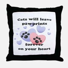 Kitty Paw-Prints Throw Pillow