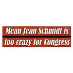 Mean Jean is Too Crazy for Congress bumpersticker