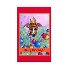 Whippet Christmas tree fairy Rectangle Decal