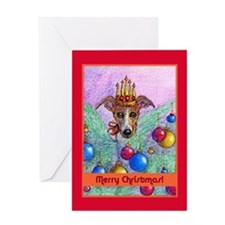 Whippet Christmas tree fairy Greeting Card