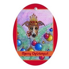 Whippet Christmas tree fairy Oval Ornament