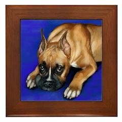 BOXER PUPPY DOG Framed Tile