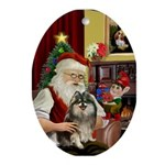 Santa and his Pom Oval Ornament