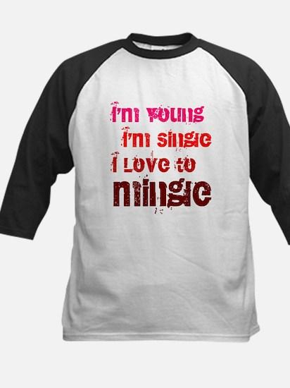 I Love to Mingle Kids Baseball Jersey