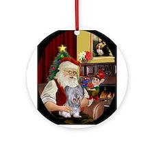 Santa's Skye Terrier Ornament (Round)