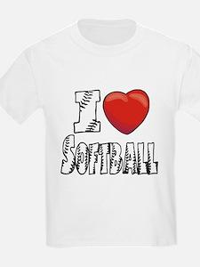 I Love Softball Kids T-Shirt