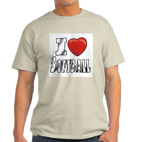 I Love Softball Ash Grey T-Shirt