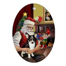 Santa & His Welsh Corgi Oval Ornament