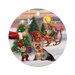 A Treat for Santa's Yorkie Ornament (Round)