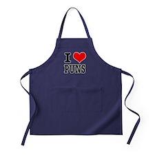 I Heart (Love) Puns Apron (dark)