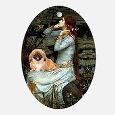 Ophelia & her Pekingese Oval Ornament