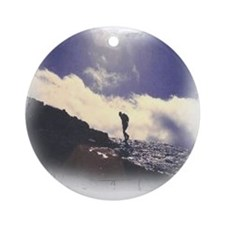Lone Hiker Ornament (Round)