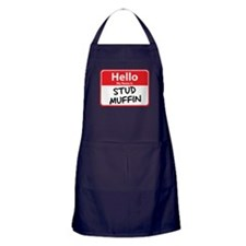 Hello My Name is Stud Muffin Apron (dark)