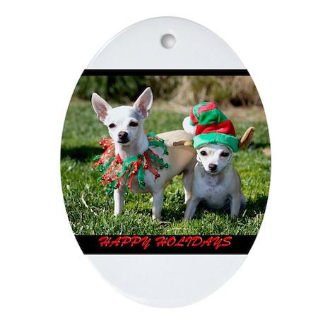 Chihuahuas Oval Ornament