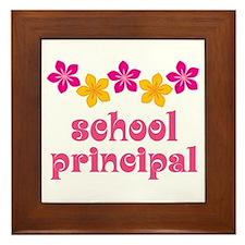 Floral School Principal Framed Tile