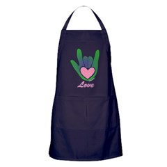 Green/Pink Love Hand Apron (dark)