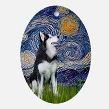 Starry Night Siberian Husky Oval Ornament