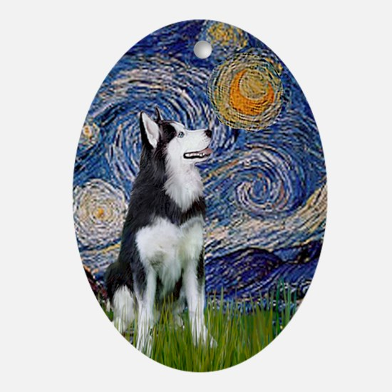 Starry Night Siberian Husky Oval Ornament