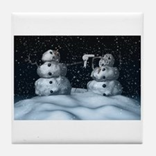 Mean Snowman Tile Coaster