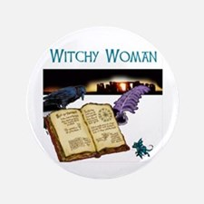 """Witchy Woman too 3.5"""" Button"""