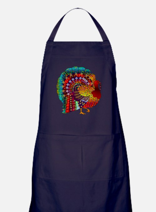 Thanksgiving Jeweled Turkey Apron (dark)